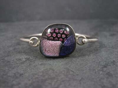 Vintage Dichroic Glass Sterling Bangle Bracelet