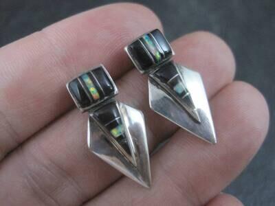 Southwestern Sterling Onyx Opal Inlay Earrings