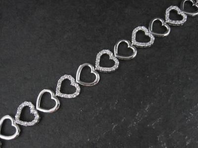 Estate Sterling White Topaz Heart Bracelet 7.5 Inches