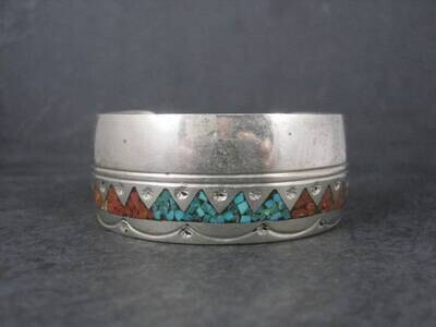 Southwestern Turquoise Coral Inlay Cuff Bracelet 5.75 Inches