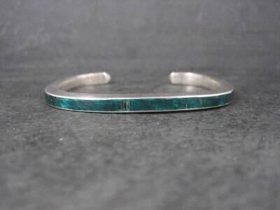 Vintage Sterling Green Enamel Cuff Bracelet 6.25 Inches