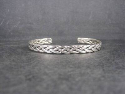 Vintage Sterling Braided Cuff Bracelet 7 Inches