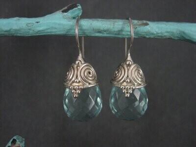 Estate Sterling Faceted Blue Crystal Earrings Sajen