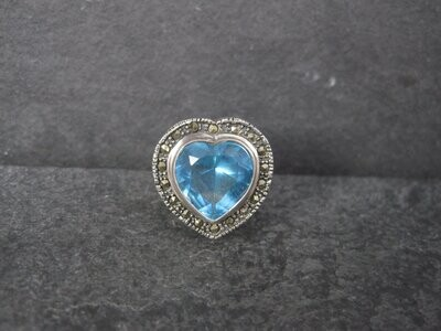 Vintage Marcasite Topaz Heart Ring Size 8