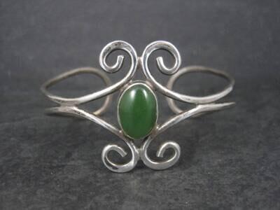 Estate Sterling Jade Cuff Bracelet 6.5 Inches