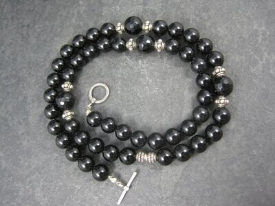 Vintage Sterling Black Crystal Onyx Bead Necklace 19.5 Inches
