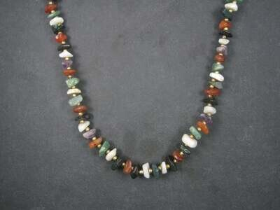 Vintage Gemstone Bead Necklace 24 Inches