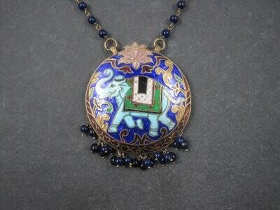 Vintage Cloisonne Enamel Elephant Necklace