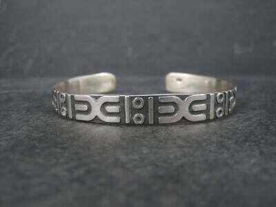 Vintage Sterling Tribal Cuff Bracelet 6.5 Inches