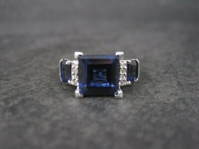 Vintage Sterling Synthetic Sapphire Ring Size 5