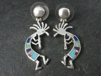 Vintage Southwestern Kokopelli Inlay Earrings