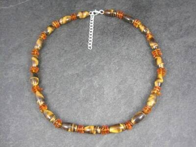 Estate Sterling Tigers Eye Amber Bead Necklace 17 Inches