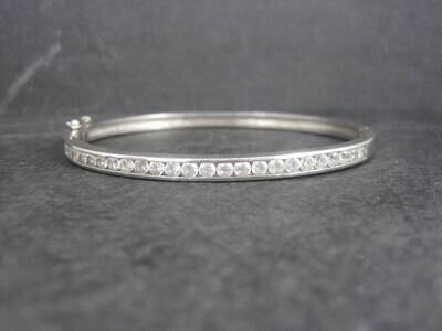 Estate Sterling Cubic Zirconia Bangle Bracelet 7.5 Inches
