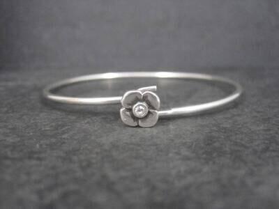 Estate Sterling Flower Bangle Bracelet 7 Inches