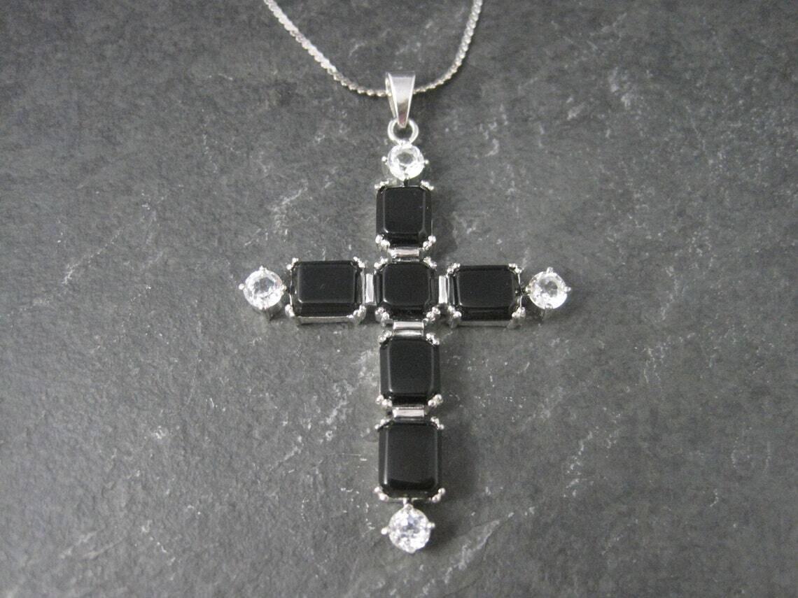 Estate Sterling Black White Topaz Cross Pendant Necklace