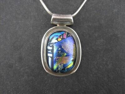 Estate Sterling Dichroic Glass Pendant Necklace