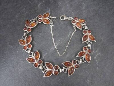 Estate Sterling Amber Butterfly Bracelet 7.5 Inches