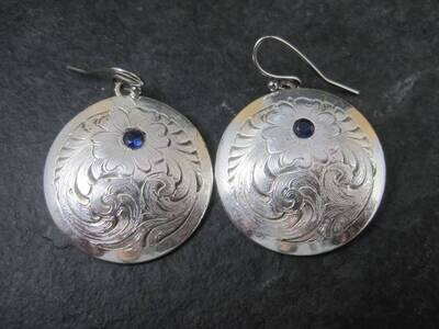 Vintage Etched Sterling Sapphire Floral Earrings