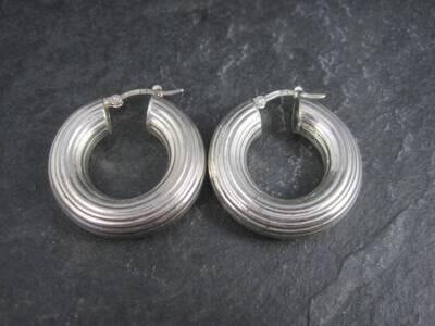Chunky Italian Sterling Latch Hoop Earrings