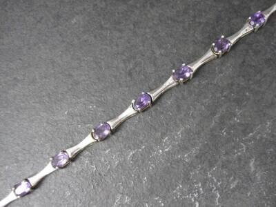 Estate Sterling Amethyst Bracelet 7 Inches