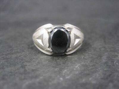 Mens Vintage Sterling Hematite Ring Size 11.5