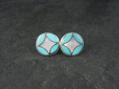 Vintage Southwestern Sterling Turquoise Inlay Post Earrings