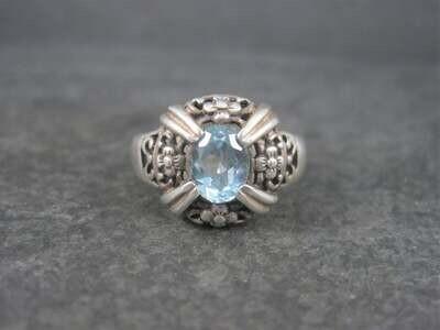 Vintage Sterling Floral Blue Topaz Ring Size 7