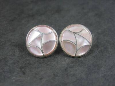 Estate Southwestern Sterling Pink Mother of Pearl Inlay Post Earrings