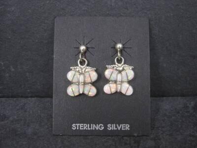 Estate Southwestern Sterling Opal Inlay Butterfly Earrings