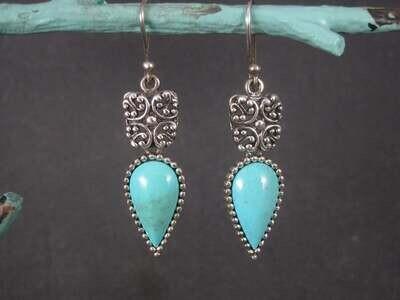 Long Vintage Sterling Balinese Turquoise Earrings