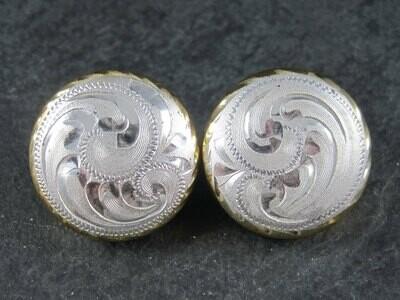 Large Vintage Western Sterling Dome Earrings