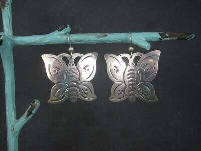 Large Southwestern Sterling Butterfly Earrings