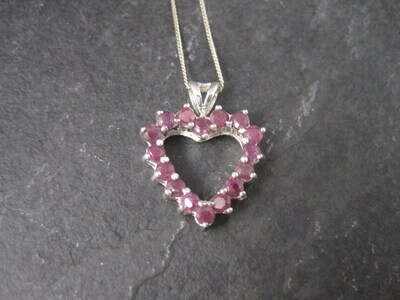 Estate Sterling Ruby Heart Pendant Necklace