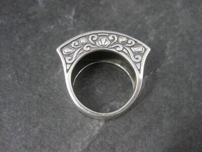 Ornate Sterling Onyx Ring Size 6.5