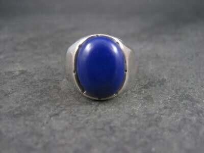 Mens Sterling Blue Enamel Ring Size 10