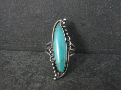 Long Vintage Southwestern Sterling Ring Size 7