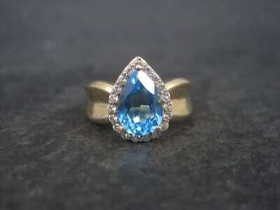 Vintage Vermeil Sterling Topaz Halo Ring Size 7