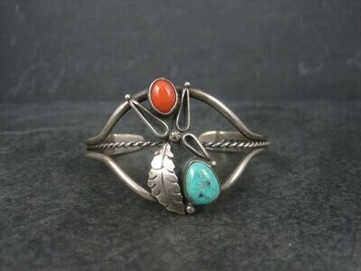 Vintage Southwestern 60s Sterling Coral Turquoise Cuff Bracelet 5.75 Inches