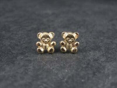 Vintage 14K Teddy Bear Earrings