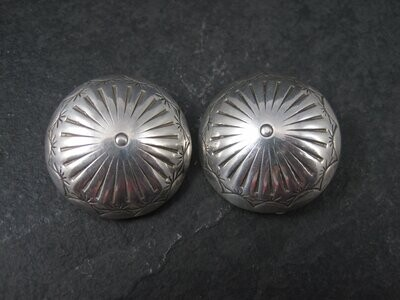 Large Vintage Southwestern Dome Clip On Earrings