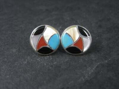 Vintage Southwestern Sterling Multi Stone Inlay Earrings