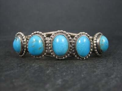 Vintage Southwestern Sterling 5 Turquoise Cuff Bracelet 6.5 Inches
