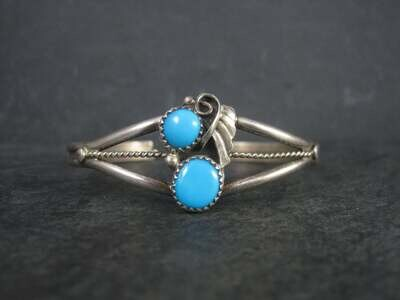 Dainty Vintage Southwestern Sterling Turquoise Cuff Bracelet 6 Inches