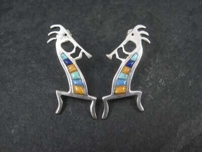 Vintage Southwestern Sterling Kokopelli Inlay Earrings