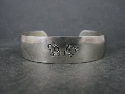 Vintage Sterling Kokopelli Cuff Bracelet 6.5 Inches