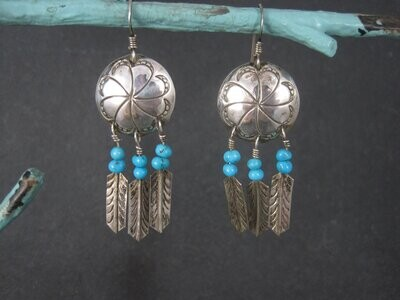 Vintage Southwestern Sterling Concho Feather Earrings
