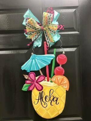 Pineapple Drink Door Hangers