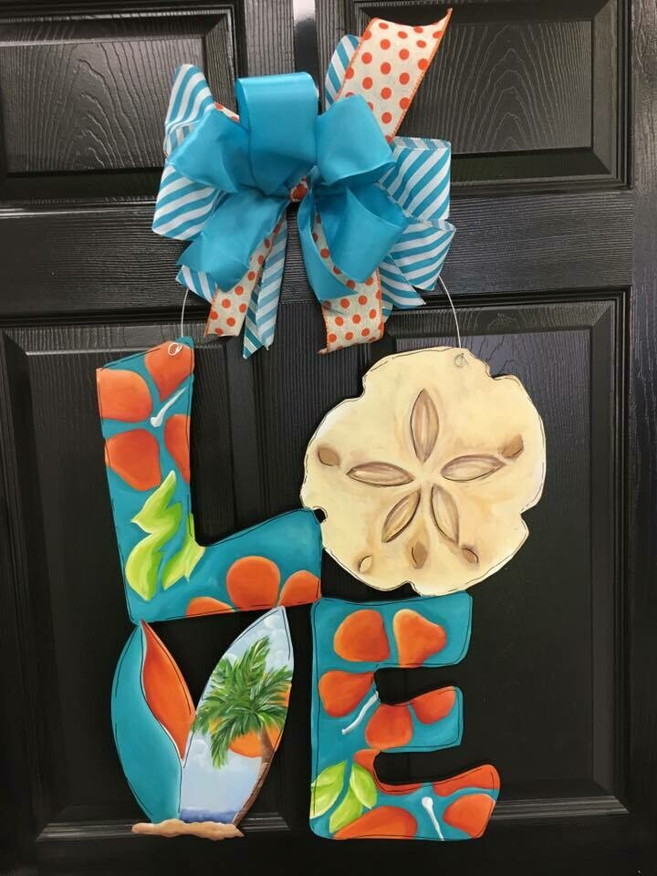 LOVE w/ Sand Dollar Door Hanger