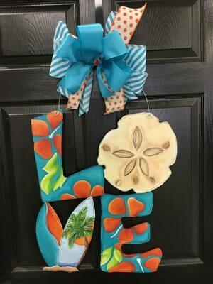 LOVE w/ Sand Dollar Door Hanger