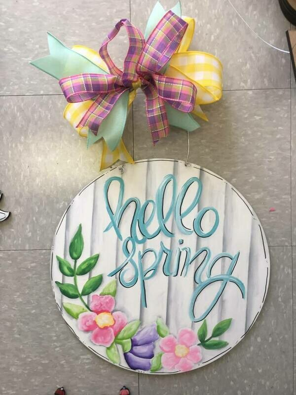 DIY Hello Spring Door Hanger Cutout